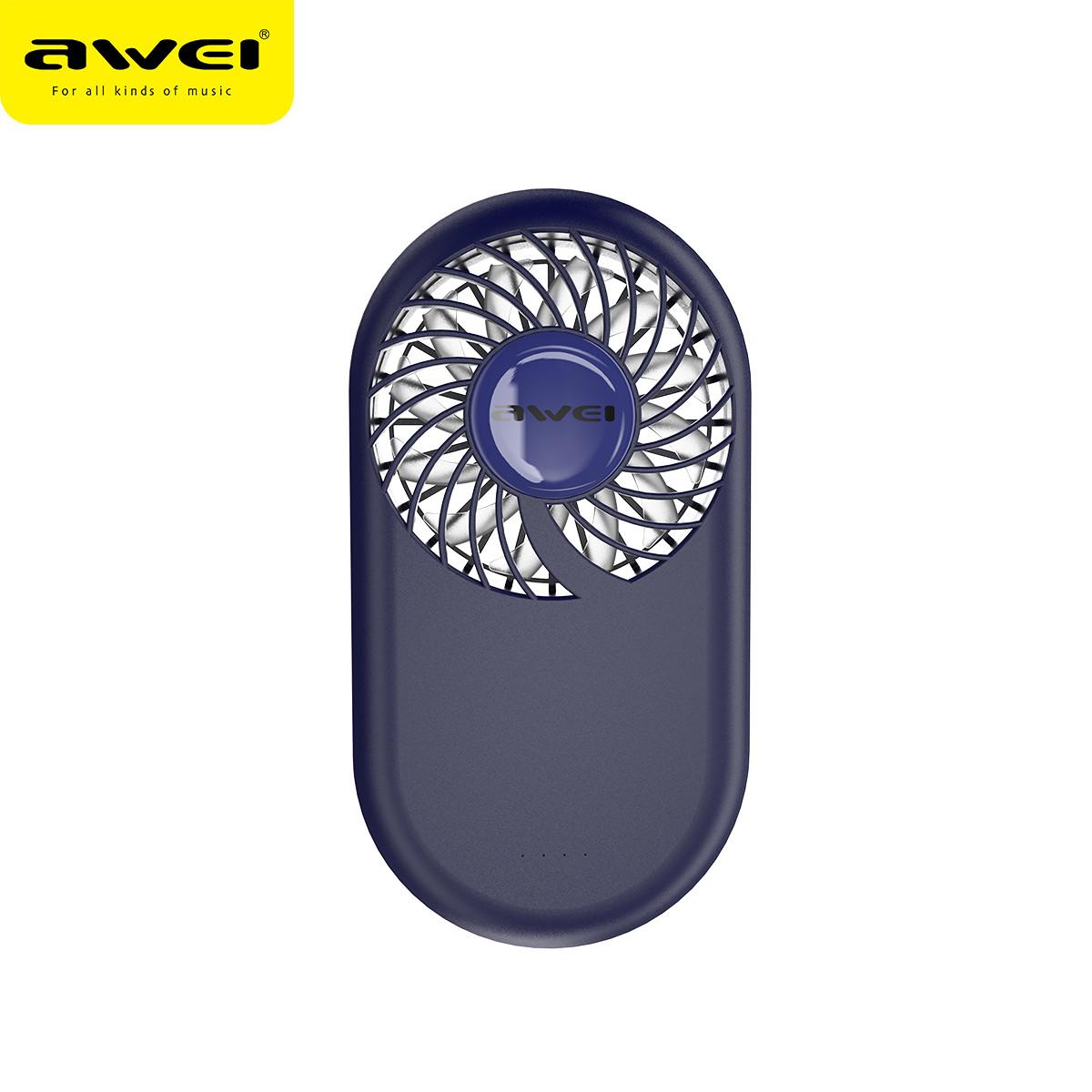 Портативный мини-вентилятор Awei F3 Mini Slim. Ручной вентилятор с аккумулятором Awei F3 Mini Slim