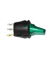 Кнопка круглая тумблером на три контакта с подсветкой зеленая GAV 364G