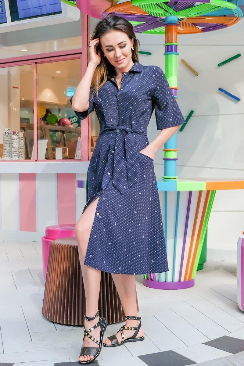 Легке літнє плаття Симфонія, синього кольору