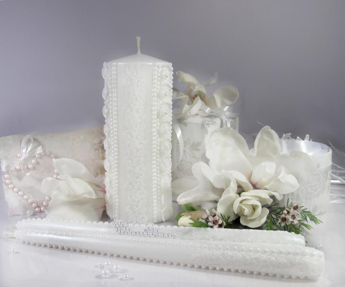 """Набор свечей """"Семейный очаг"""" белого цвета, арт. НПб-верт"""