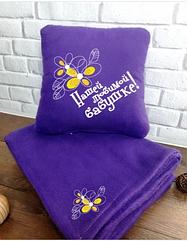 Набор подушка и плед с вышивкой Любимой бабушке Фиолетовый