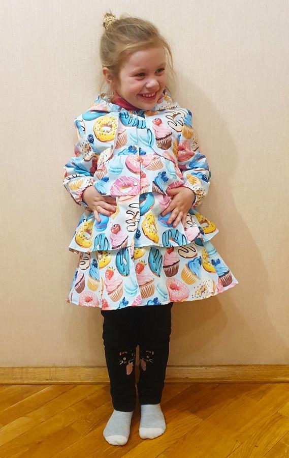 Легкий детский плащ на кнопках с пончиками 80-134 р