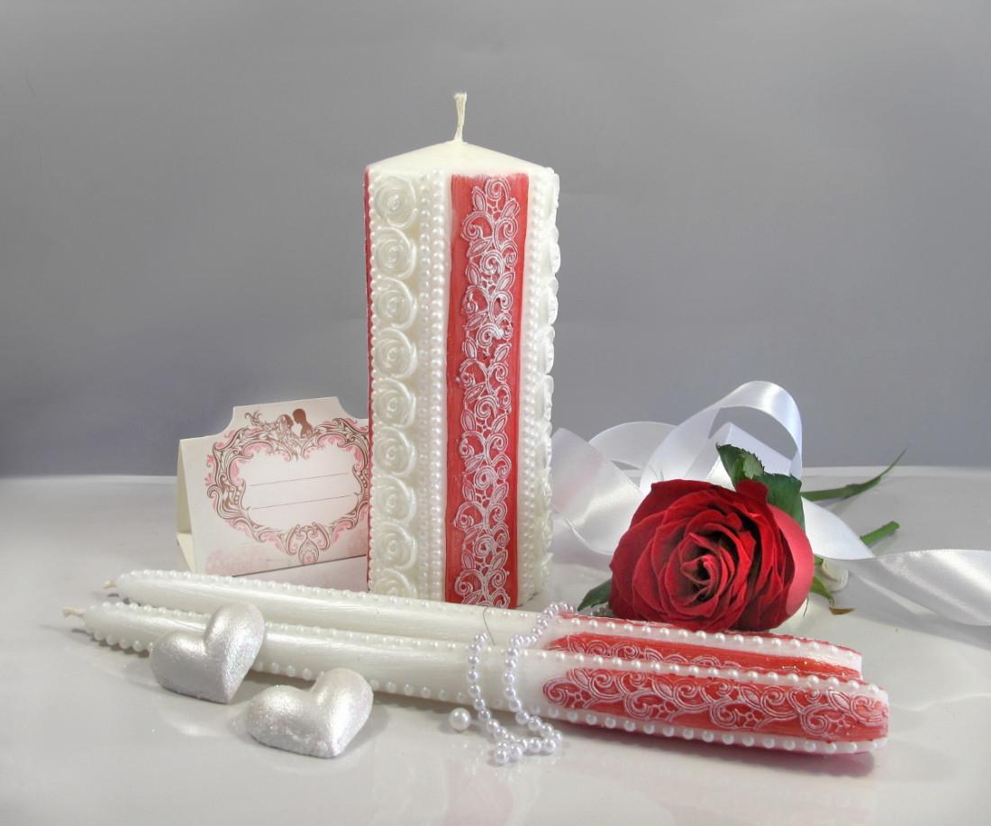 """Набор свечей """"Семейный очаг"""" красного цвета, арт. НПк-верт"""