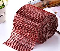Сітка зі стразами 12х20 см червоний, фото 1
