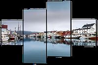 Модульная картина Лодочный городок 126*85 см Код: W517M
