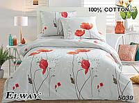 Полуторный комплект постельного белья. Сатин. Elway 5039 Poppy Flower