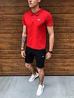 Шорты + Футболка поло Lacoste x black-red   спортивный костюм летний Топ качества