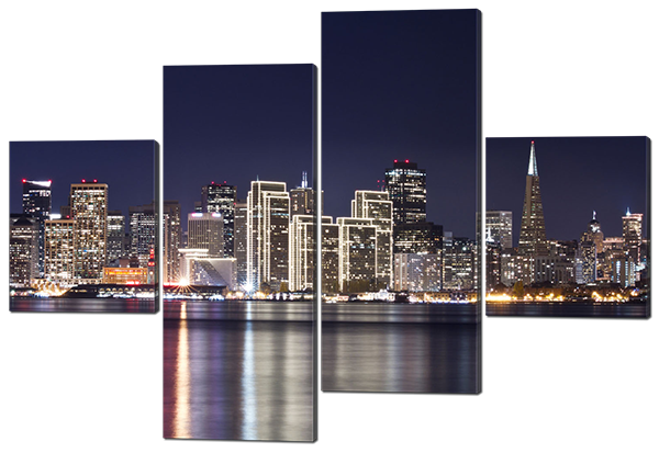 Модульная картина Город, ночь, панорама 126*85 см Код: W486M