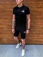 Шорты + Футболка поло The North Face x black | спортивный костюм летний Топ качества