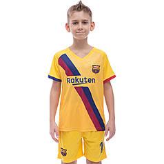 Форма футбольная детская Zelart BARCELONA MESSI 10 гостевая 2020 CO-1070 (р-р 22-30, рост 116-165см, желтый)