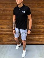Шорты + Футболка поло The North Face x black-grey  | спортивный костюм летний Топ качества