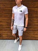 Шорты + Футболка поло The North Face x white-grey  | спортивный костюм летний Топ качества