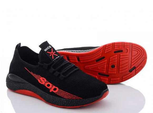 Летние мужские молодежные кроссовки черные из сетки 45 р. - 28 см NICE 1175797321, фото 2