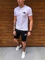 Шорты + Футболка поло The North Face x white-black | спортивный костюм летний Топ качества