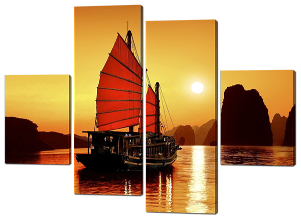 Модульная картина Восточный корабль, красные паруса 126*93 см Код: W483M