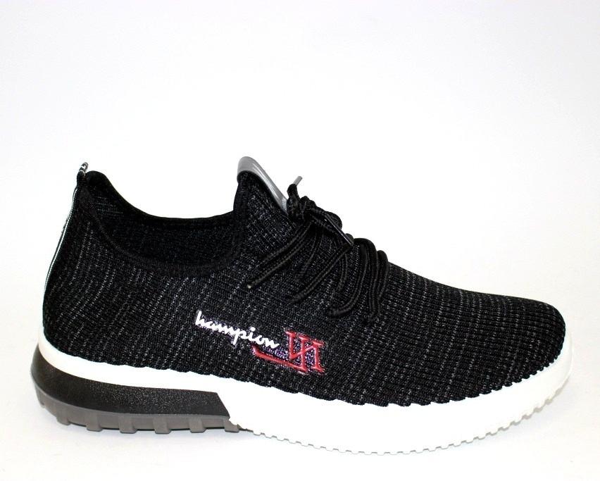 Черные мужские кроссовки трикотаж