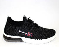 Черные мужские кроссовки трикотаж, фото 1