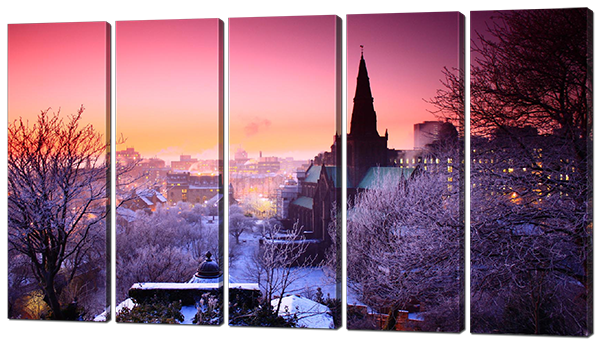Модульная картина Город зимняя ночь 118*64 см (картина из пяти частей) Код: W473-S