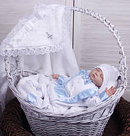 Крестильный набор для мальчика Бантик+Фрак New белый/голубой