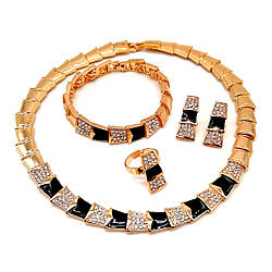 Комплект SONATA (Кольє + браслет + серги + кільце), білі фіаніти і ювелірна емаль, позолота 18К, 73619 (1)