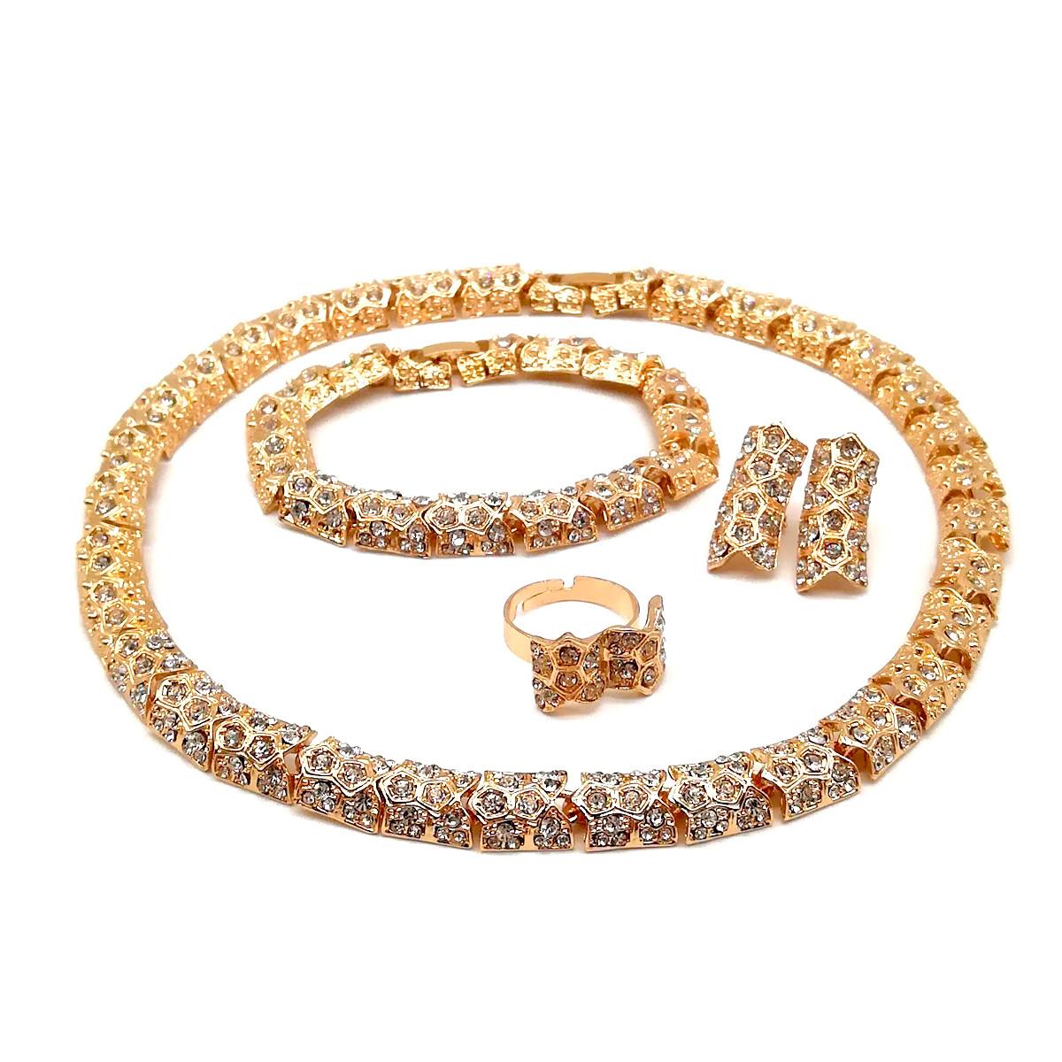 Комплект SONATA (Колье + браслет + серьги + кольцо), белые фианиты, позолота 18К, 73383                               (1)