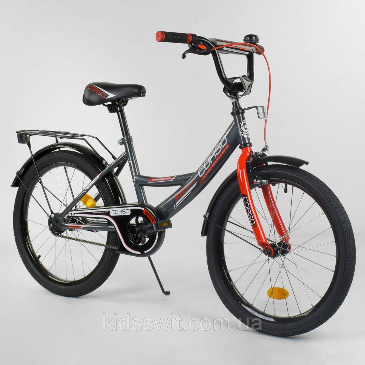 """Велосипед 20"""" дюймов 2-х колёсный """"CORSO"""" серо-красный, ручной тормоз, звоночек, собранный на 75%,  CL-20 Y 97"""