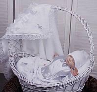 Крестильный набор для мальчика Бантик+Фрак New белый/серый