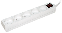 Удлинитель  У5К-выкл. 5 мест 2Р/3метра 2х0.75мм2  10А/250 IEK (WYP10-06-05-03-K-N)