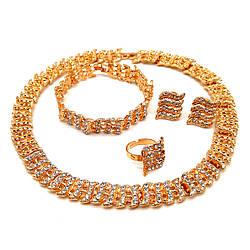 Комплект SONATA (Кольє + браслет + серги + кільце), білі фіаніти, позолота 18К, 73656