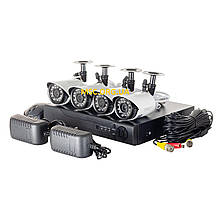 Комплект, система видео наблюдения Регистратор + 4 проводных камер DVR KIT 520AHD\1080 2mp\4ch