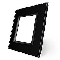 Рамка розетки Livolo 1 пост черный стекло (VL-C7-SR-12), фото 1