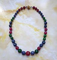 Ожерелье 100% натуральные сапфиры рубины изумруды граненый шар 8-16 мм вес 69г