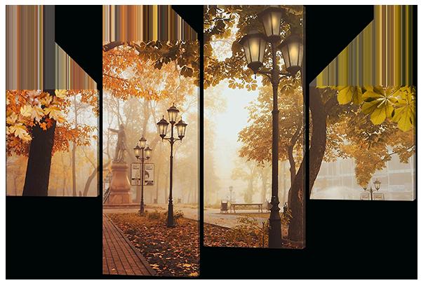 Модульная картина Осень фонари в парке 126*85 см Код: W437M
