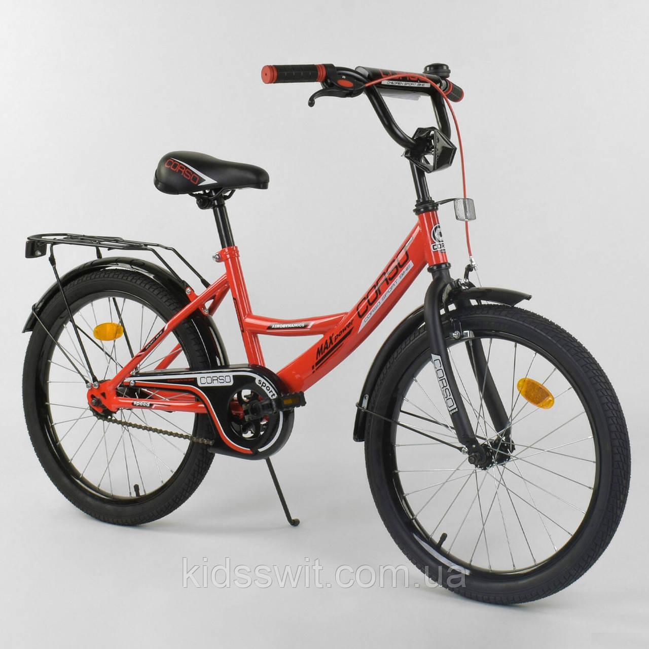 """Велосипед 20"""" дюймов 2-х колёсный """"CORSO"""" красный, ручной тормоз, звоночек, собранный на 75%, CL-20 Y 2488"""