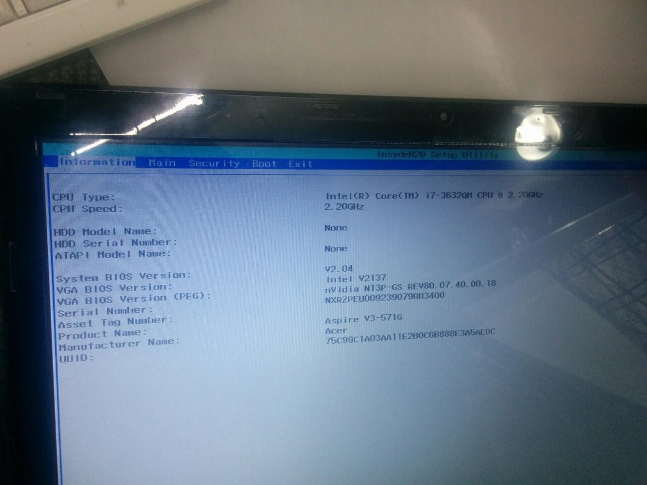 Ноутбук Acer Aspire V3-571G рамка экрана, крышка матрицы, петли экрана