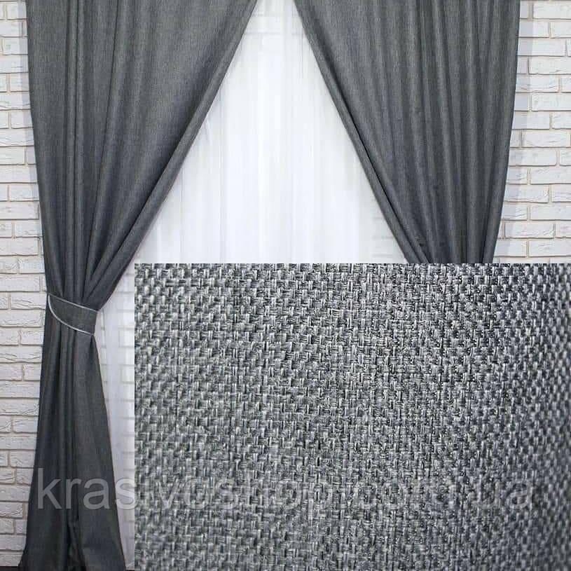 Ткань блэкаут  лен  графит, темно серый