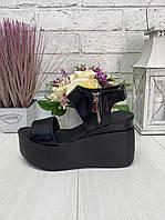 Стильные женские кожаные босоножки на платформе танкетке на липучках. Черный, 6 цветов. 36-41