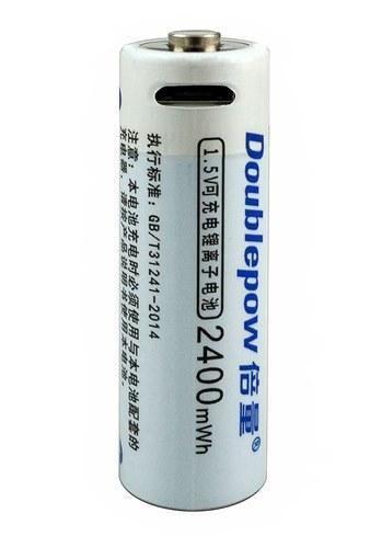 Аккумулятор (батарейка) АА micro USB пальчиковый 1600 мАч (2400mWh) 1.5V Li-ion Doublepow