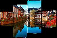 Модульная картина Водный канал в цветах 126*85 см Код: W414M