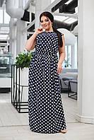 Платье женское большой размер 41445 (50-52,54-56) (цвета: серый+пудра,синий+белый,хаки+белый) СП, фото 1