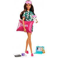 Кукла Барби Релаксация с аксессуарами и щенком Barbie Relaxation Brunette Puppy GJG58