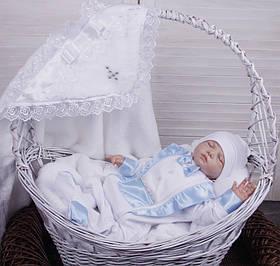 Комплект для крещения мальчика Бантик+Фрак New белый с голубым