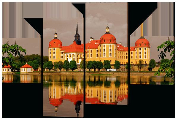 Модульная картина Жёлтый замок 126*85 см Код: W398M