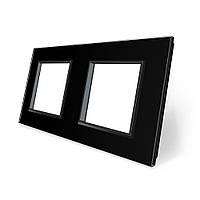Рамка розетки для Livolo 2 поста чорний скло (VL-C7-SR/SR-12), фото 1