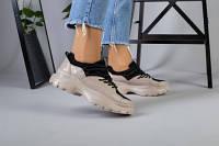 Женские бежевые кожаные кроссовки, фото 1
