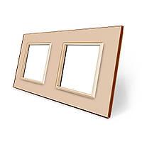 Рамка розетки Livolo 2 поста золото стекло (VL-C7-SR/SR-13), фото 1