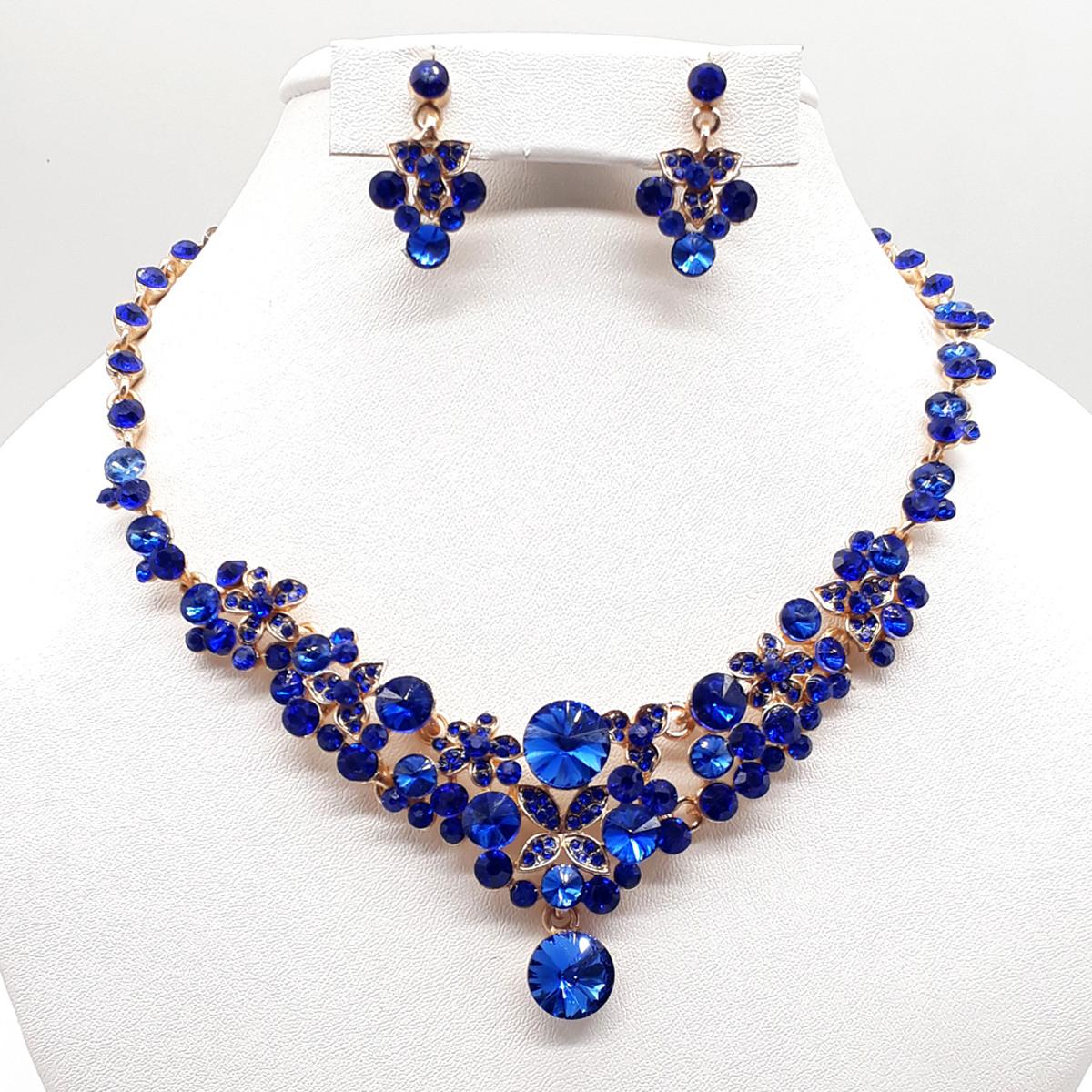 Комплект SONATA (Колье + серьги), синие фианиты, позолота 18К, 63371