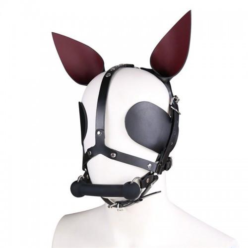 БДСМ кожаная маска собаки с костью