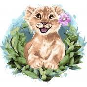 Картина по номерам на холсте Очаровательный львенок 30х30см