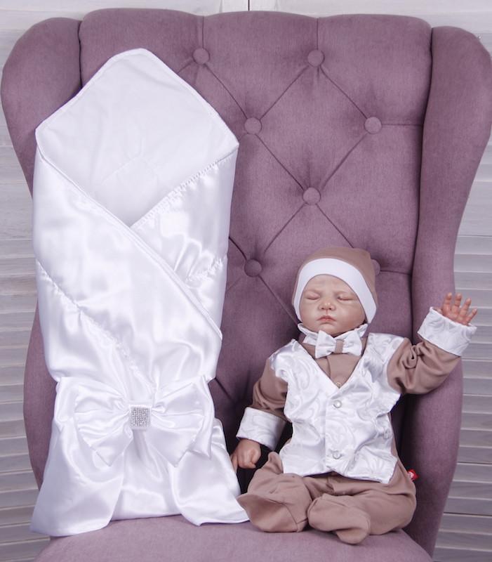 Летний комплект для новорожденного мальчика на выписку Ангел+Крис, белый с кофейным